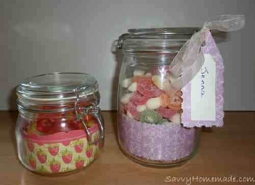 candy jar gifts made using wallpaper border