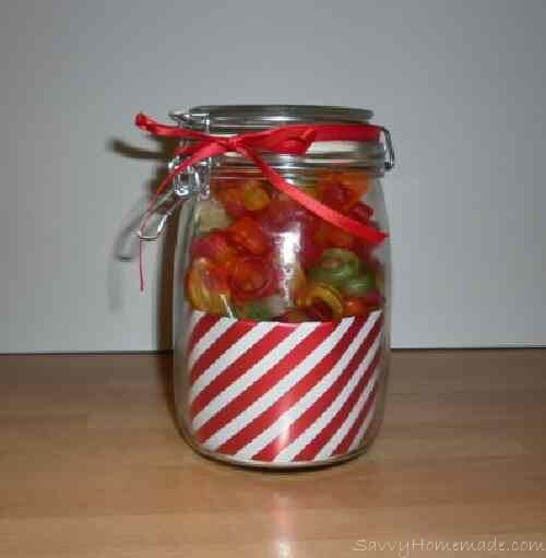 Homemade gifts in a jar for christmas savvy homemade candy jar gifts made using wrapping paper negle Image collections
