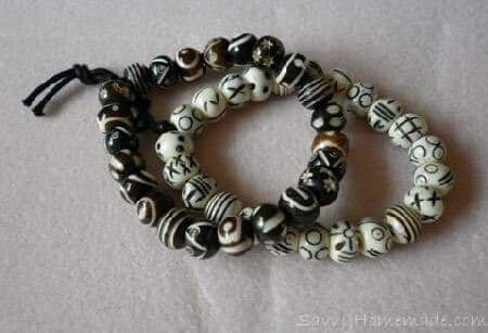 Homemade Tea Dyed Bone Bead Bracelets