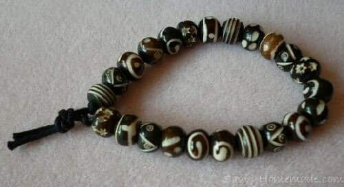A Tea Dyed Bone Bead Bracelet