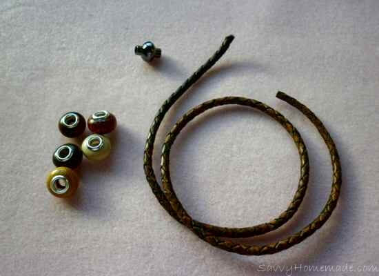 Materials for making a homemade leather bracelet