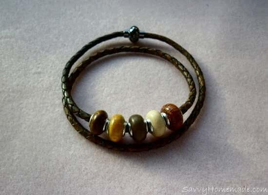 homemade braided leather bracelet