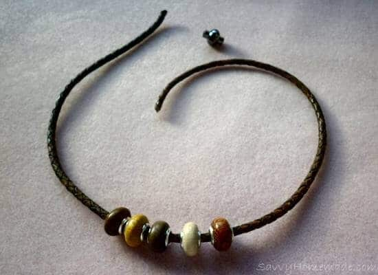Threading on the beads for your braided leather bracelet