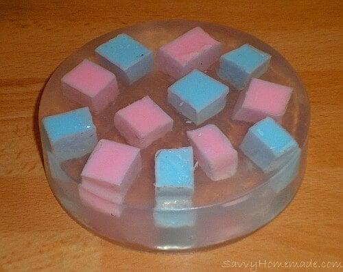 making chunky homemade soap bar4