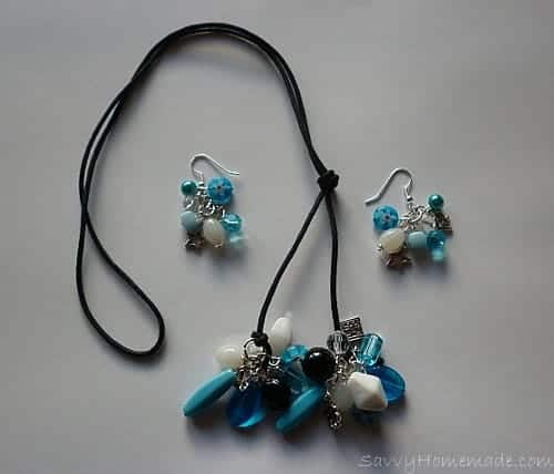 Homemade clustered necklace with matching earrings