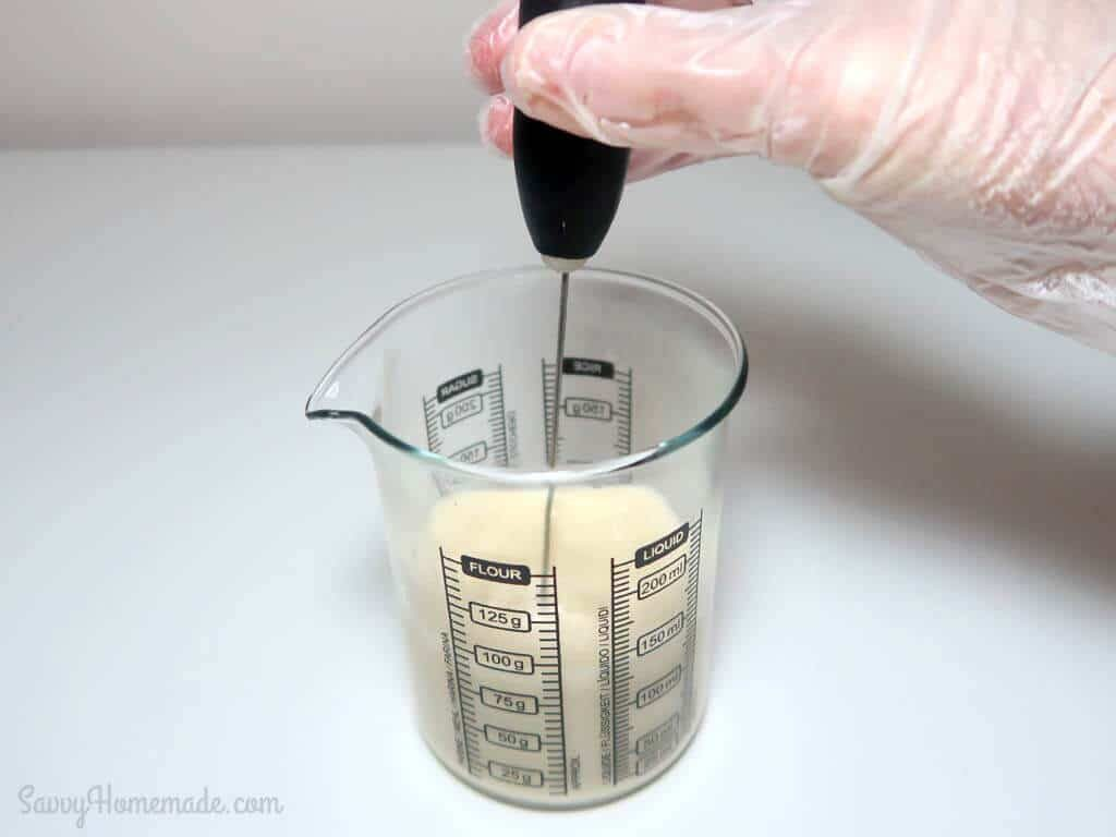 Now mix steadily with a spoon or whisk, if using a whisk try to keep it down to prevent air bubbles