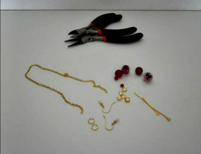 Supplies you will need to make chain tassel earrings