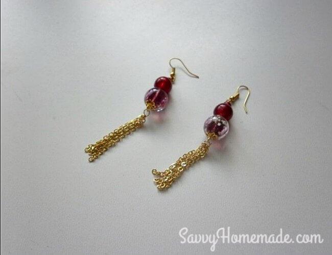 homemade chain tassel earrings