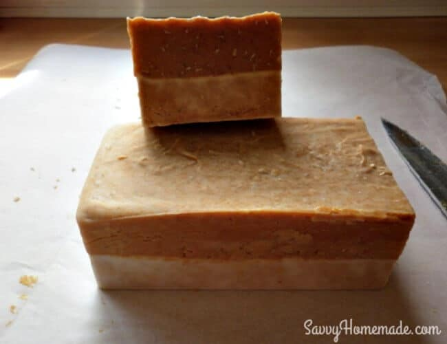 cut honey and oatmeal soap into bars