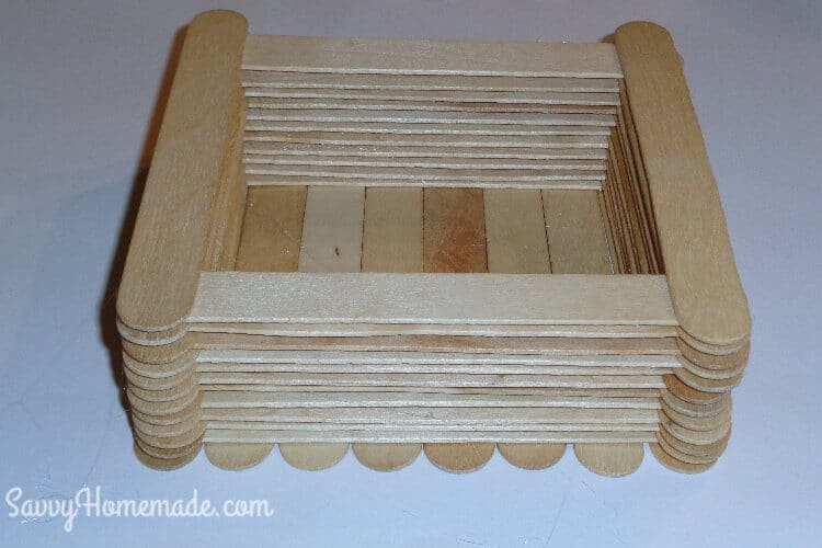 making a popsicle stick box step 3
