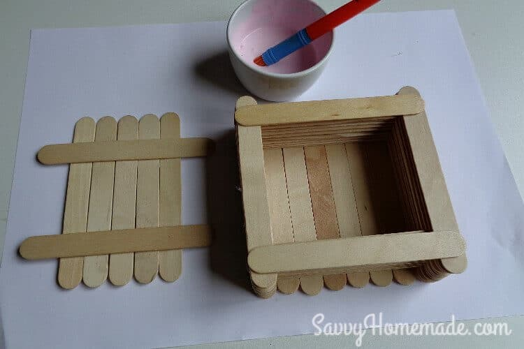 making a popsicle stick box step 6