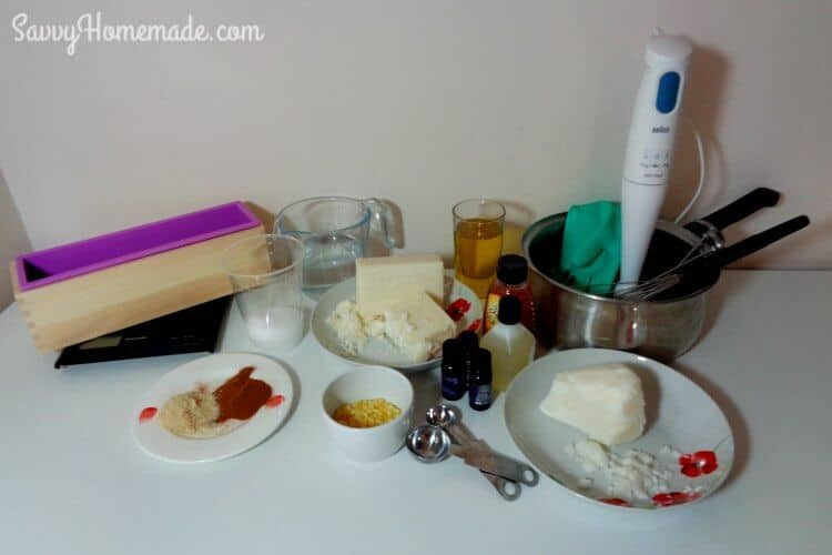 ingredients for a homemade honey almond soap recipe