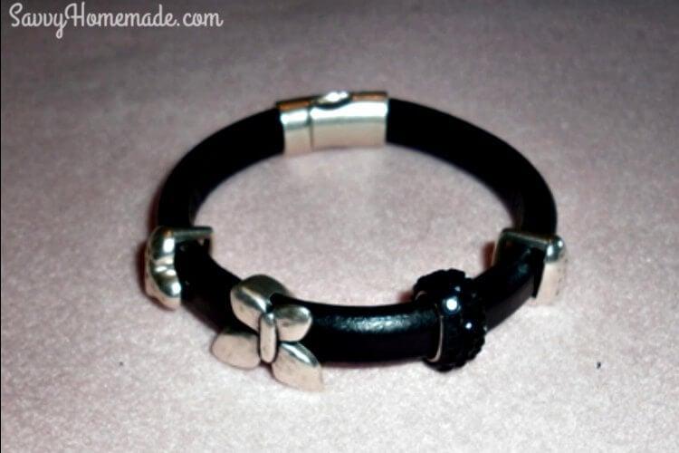 basic diy licorice leather bracelet with beads
