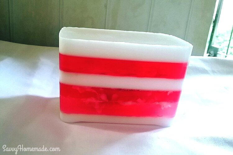 peppermint candy stripe mp soap loaf
