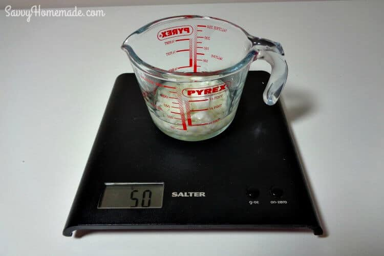 Weigh oils & wax for making a face scrub
