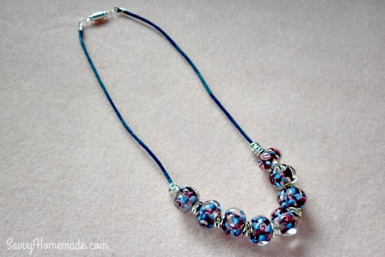 finished necklace using cotton cord beads jump rings