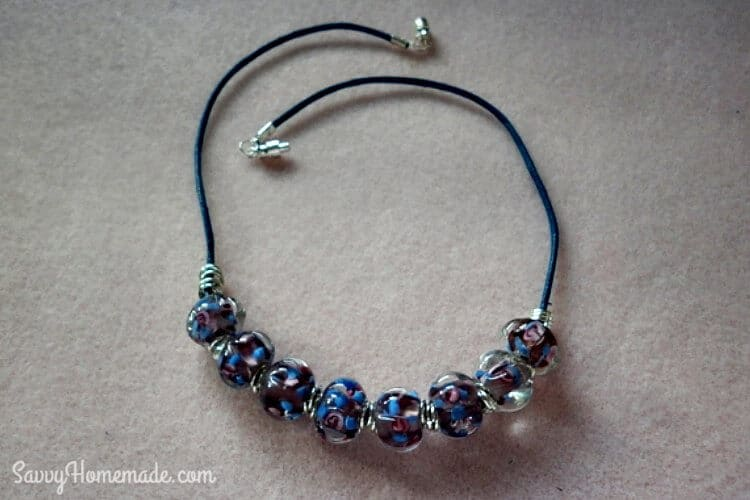 necklace using cotton cord beads jump rings