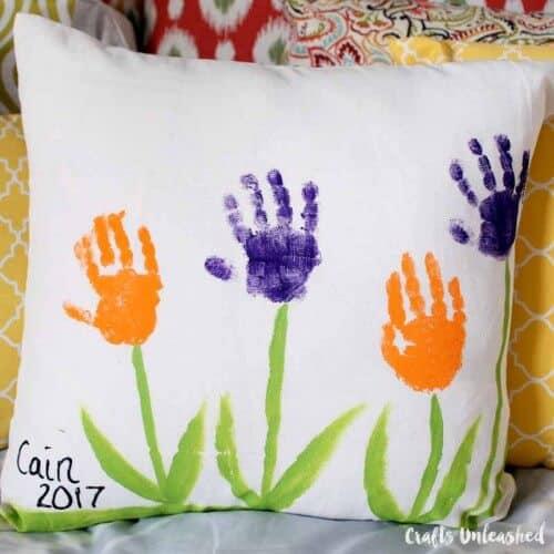 diy handprint flowers pillow