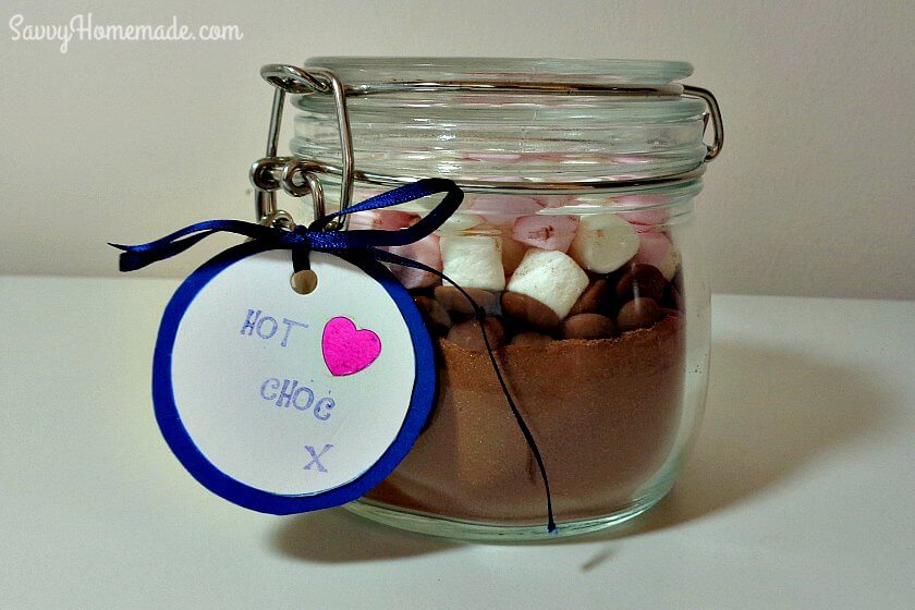 homemade hot chocolate in a jar gift