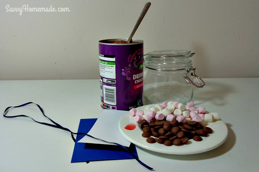 ingredients for hot chocolate in a jar gift