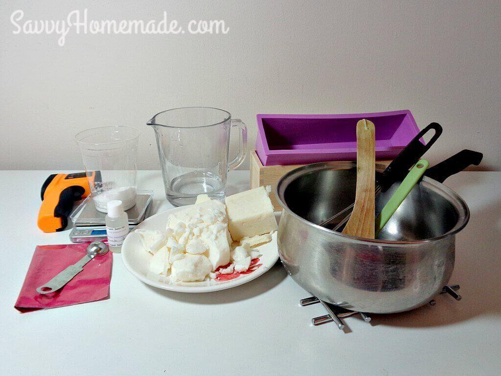 ingredients for coconut oil soap recipe