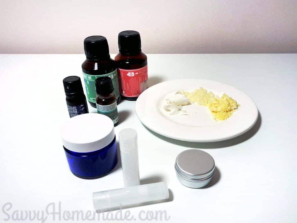 Ingredients for DIY lip balm