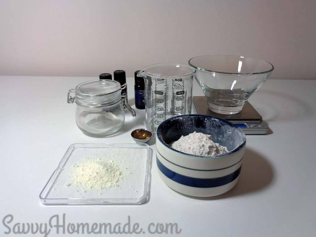 ingredients to make a clay mask