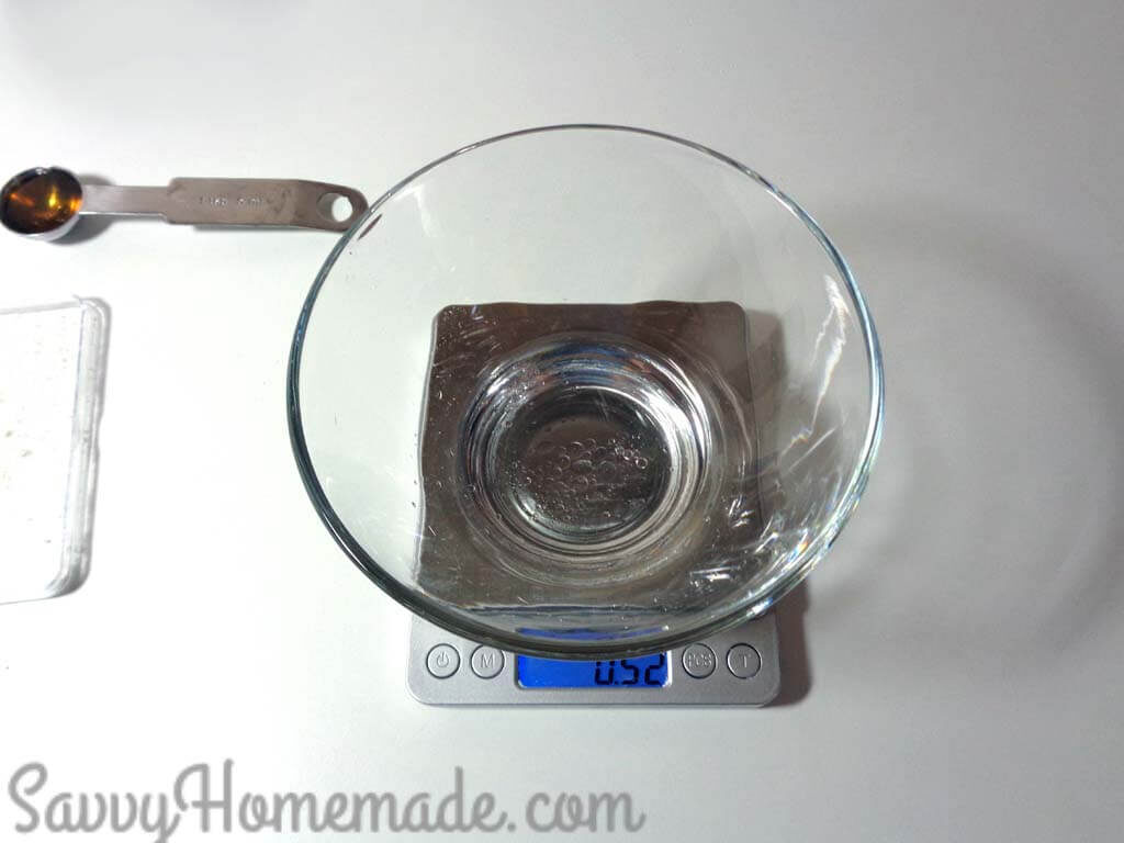 Place the water into a clean bowl and add the preservative