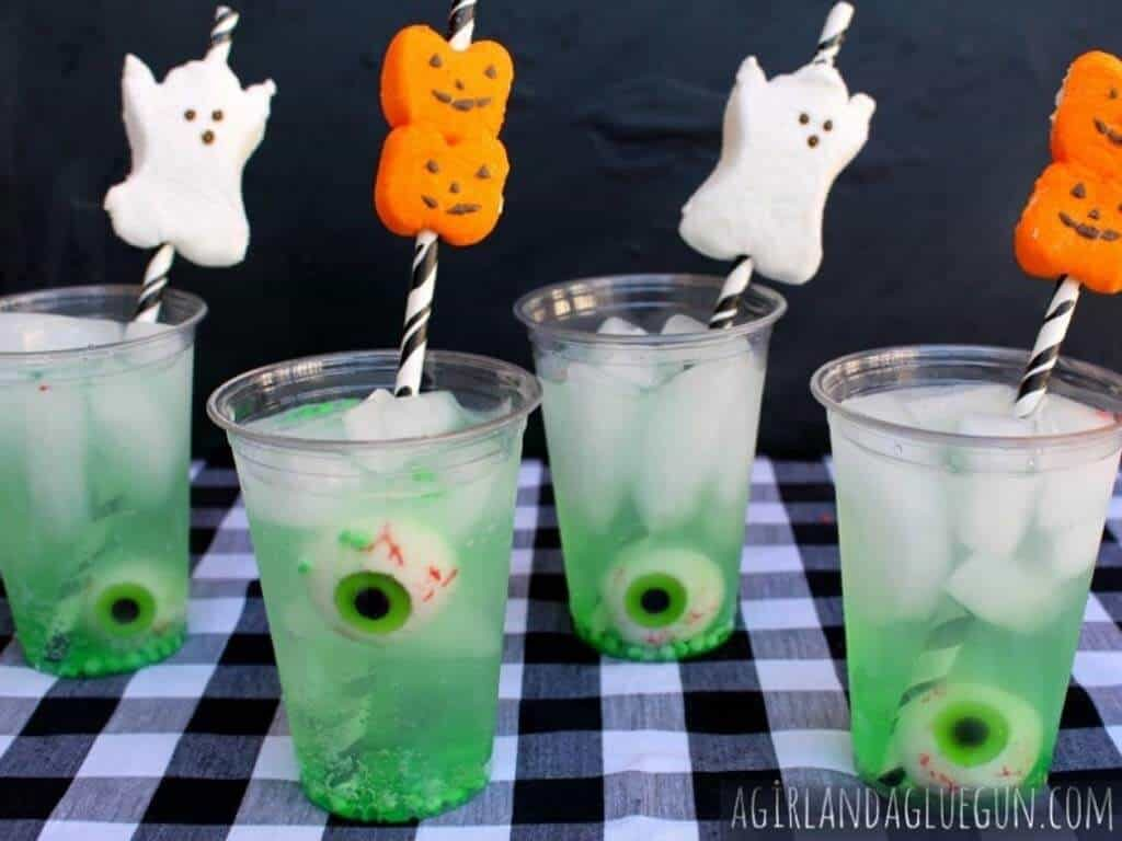 Easy Halloween Drink With Peep Straws
