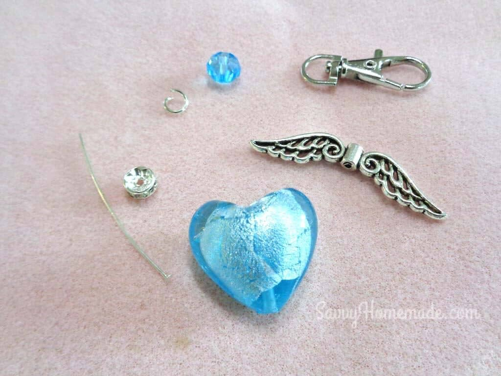 What you need to make the Angel Beaded DIY Keychain