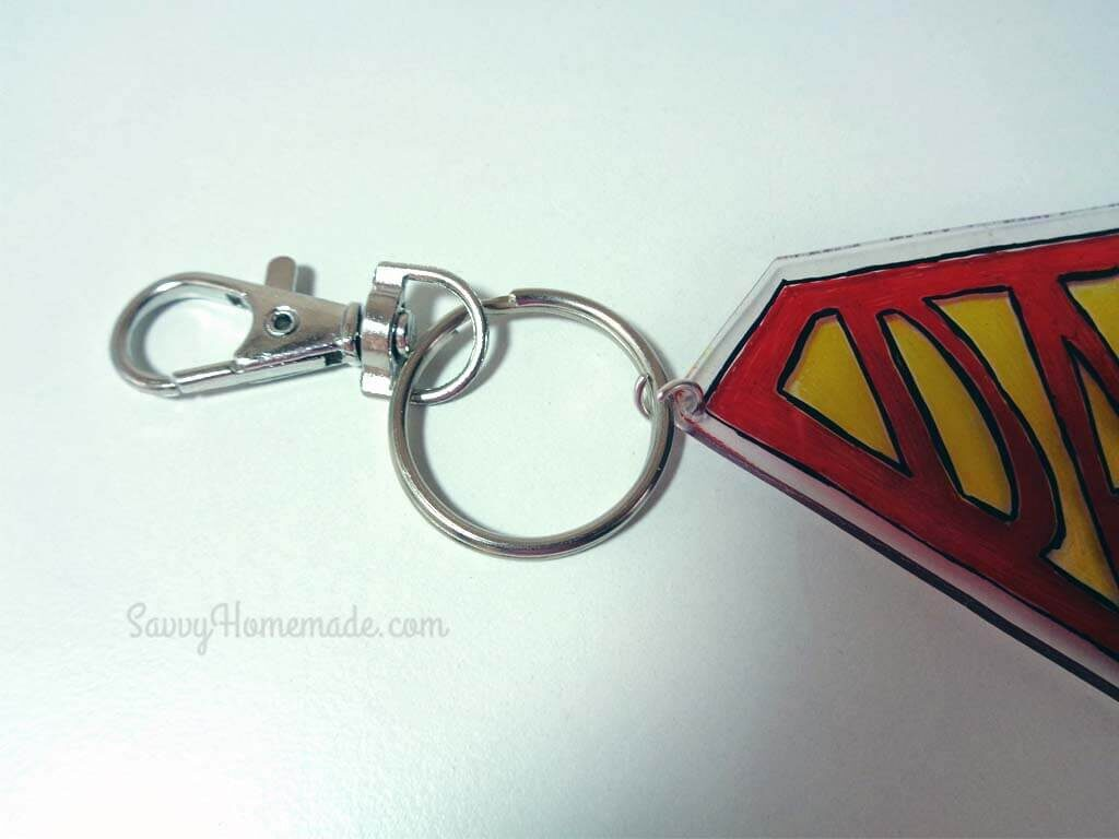 Attach the keychain and jump ring via the hole we punched earlier