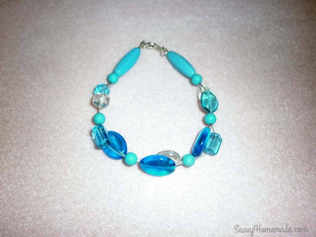 This bracelet has been made from a glass beads mix