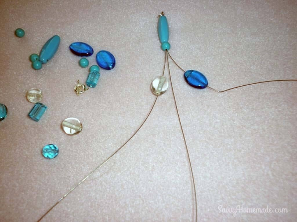 finish with the one or two beads through all three wires as you did at the start