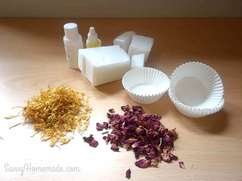 ingredients for flower petal cupcake soap