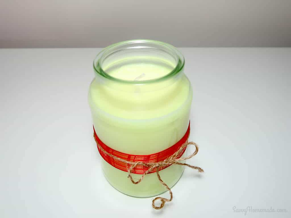 A homemade soy candle