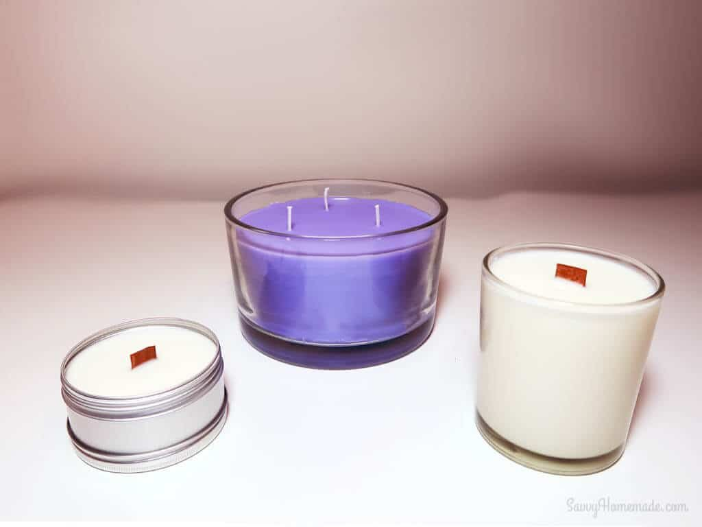three different candle wicks