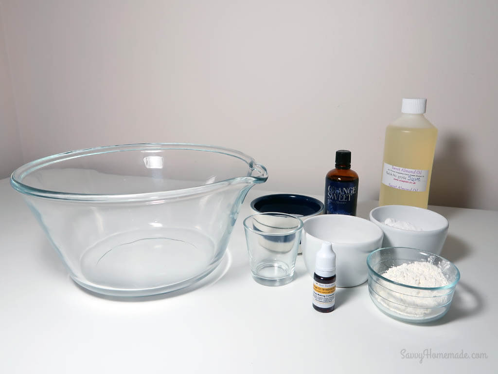ingredients for a diy bath bomb recipe