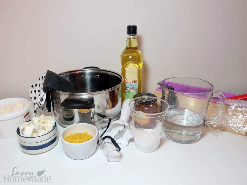 Supplies for honeycomb soap recipe