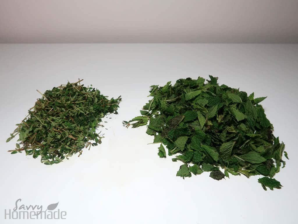 Chop up your fresh thyme and mint