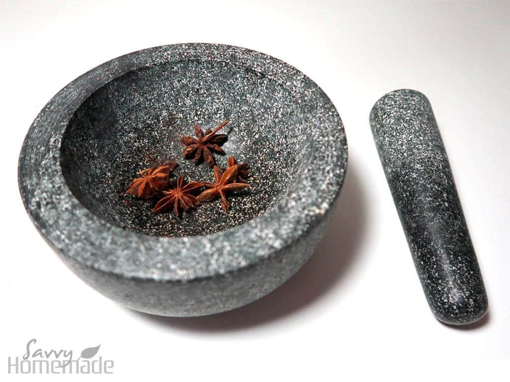 pestle and mortar with star anise.