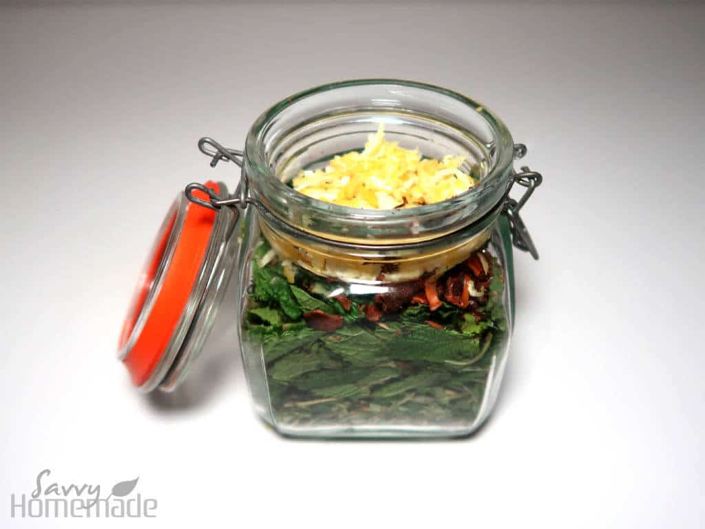 Add lemon rind to your other ingredients in the mason jar.