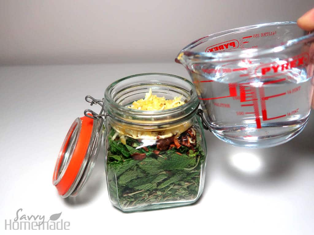Measure out 200ml of vodka in a measuring jug and add your sweetener