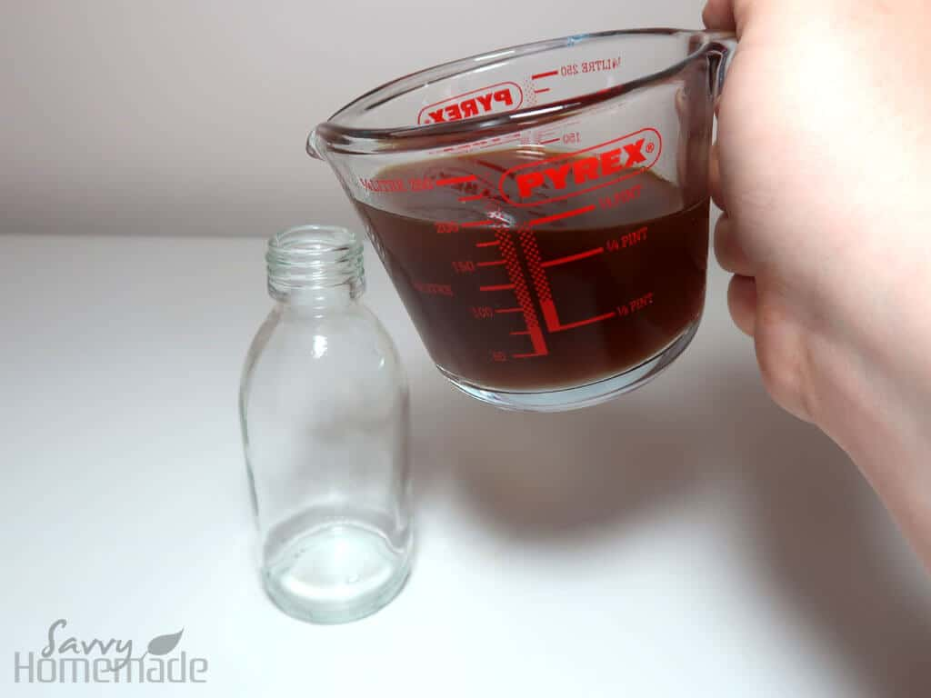 Pour the liquid into a spray bottle, large enough to hold all of your liquid.