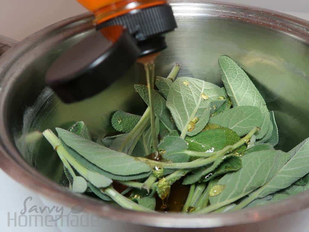 Honey is a great addition to any natural cough remedy, pour it over your sage leaves so that they are fully covered