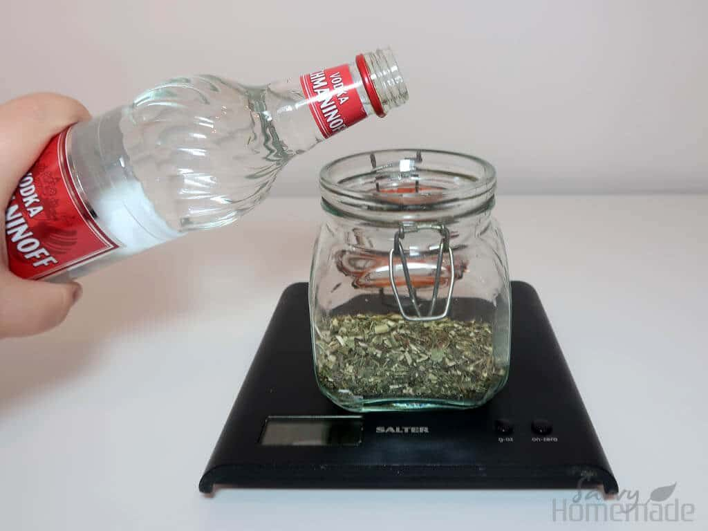 I've had lots of success with just covering the herbs with vodka