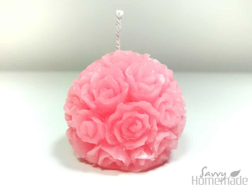 A rose candle made using a silicon mold