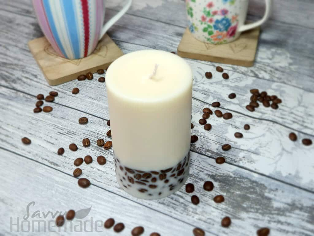 DIY coffee candle, with real coffee beans embedded in the base