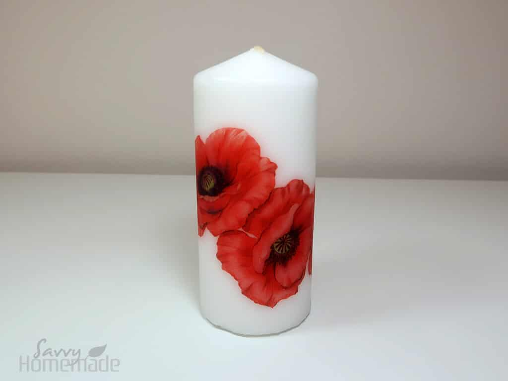 how to make diy decoupage candles Step : The candle can be burnt immediately, but be careful not to leave it unattended.