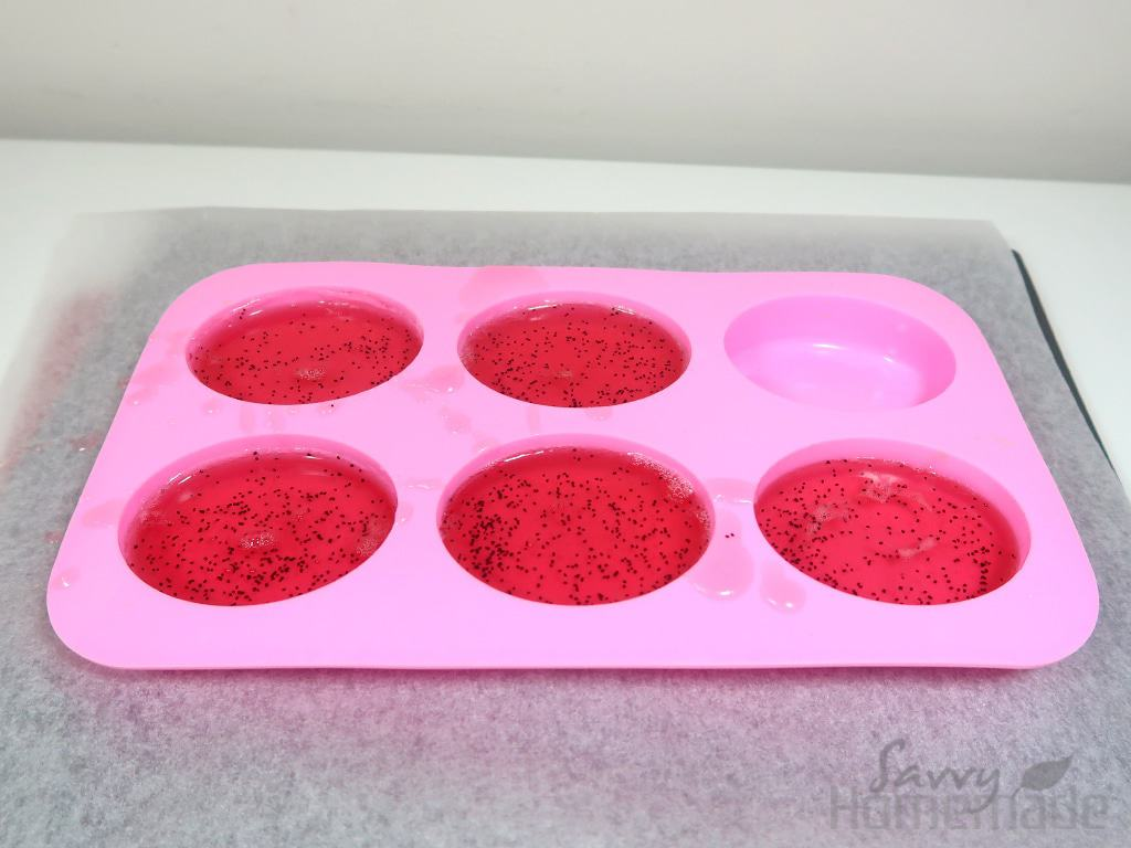 Step 6: Pour the mixture into your soap molds, leaving some room for the sponges
