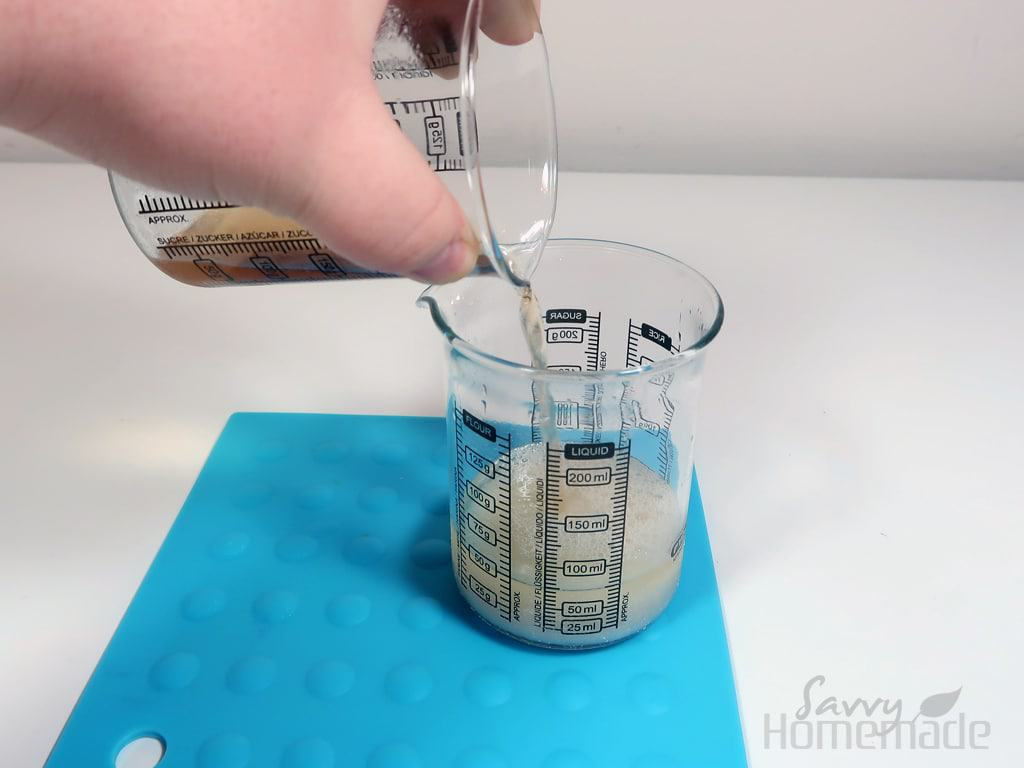 step 4: Pour your water part into your oil part
